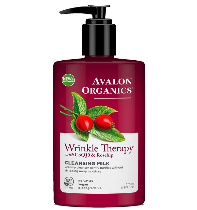 Avalon Organics Wrinkle Therapy With Coq10 & Rosehip Cleansing Milk 8.5oz