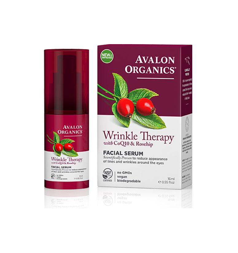 Avalon Organics Wrinkle Therapy With Coq10 & Rosehip Facial Serum 0.55oz